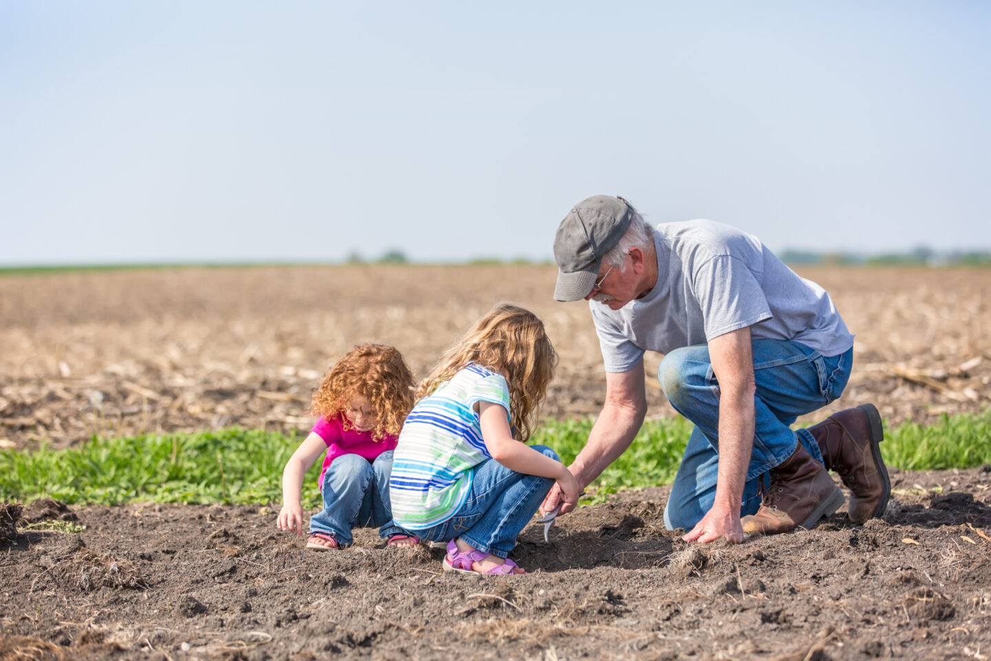 Grandfather in a farm field with his granddaughters